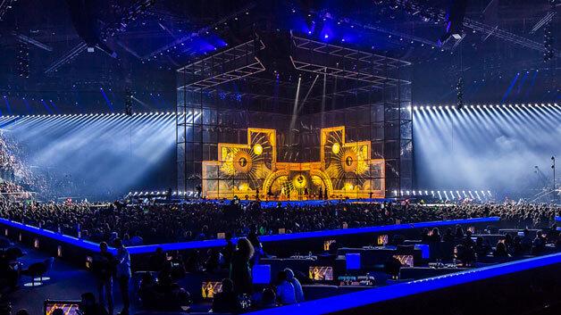 Die Scheinwerfer von Clay Paky sorgen für eine eindrucksvolle Showbeleuchtung auf dem Eurovision Song Contest