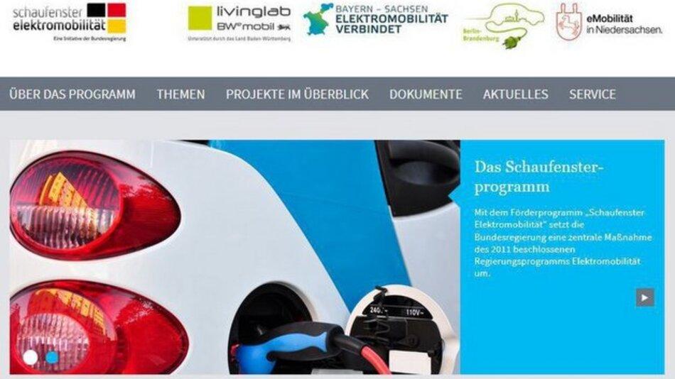 """Neue Webseite des """"Schaufenster Elektromobilität""""."""