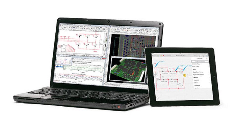 """Bild 2. SPICE-Simulationen auf dem iPad realisieren und gleich mit anderen Anwendern – z.B. mit Laptop ausgerüstet – teilen: """"Multisim Touch""""."""