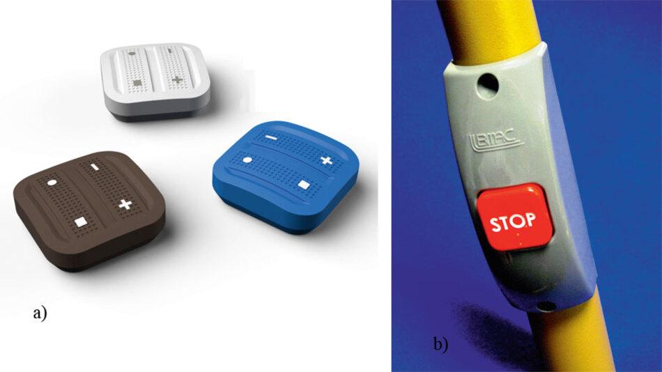 Bild 2. a) Schalter-Tasten mit elektromechanischem Energiewandler und Funkmodul gibt es in verschiedenen Ausführungen. b) Ein Busstopp-Taster arbeitet ebenfalls mit elektromechanischem Energiewandler und Mini-Funkmodul.