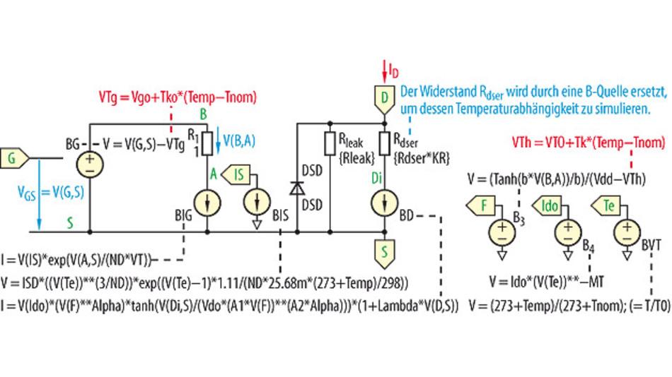 Bild 1. Schaltung zur Darstellung des Tanh-MOS-Modells; Details siehe [9].