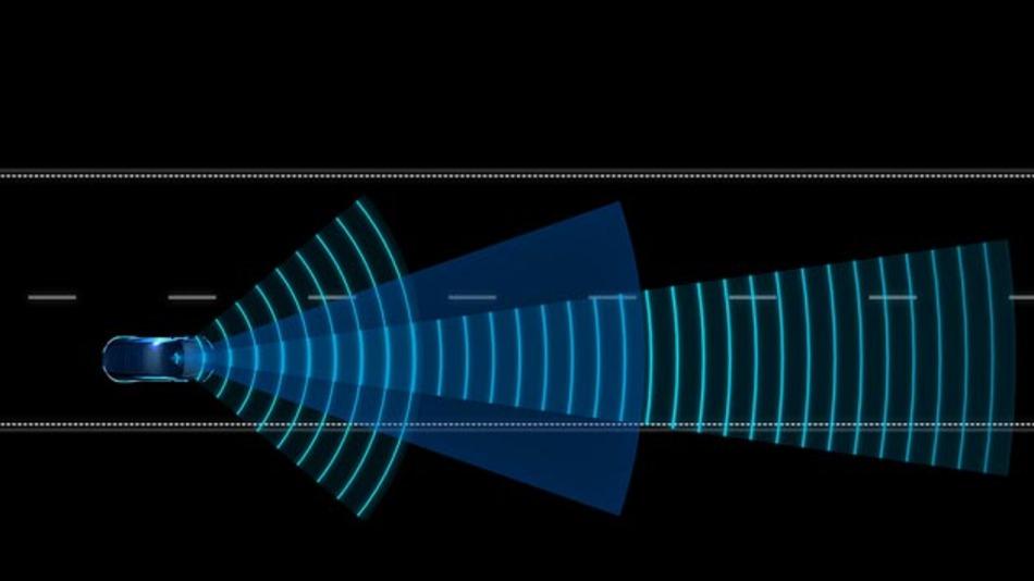 Weil das Radar von Delphi die Umgebung elektronisch scanned kommt Delphi-Forward-Lookinges ohne bewegliche Teile aus.