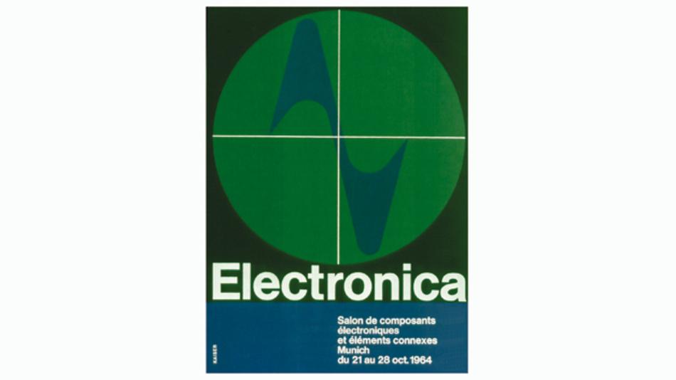 Mit diesem Plakat machte die Electronica zu ihrer Auftaktveranstaltung im Jahr 1964 auf sich aufmerksam.