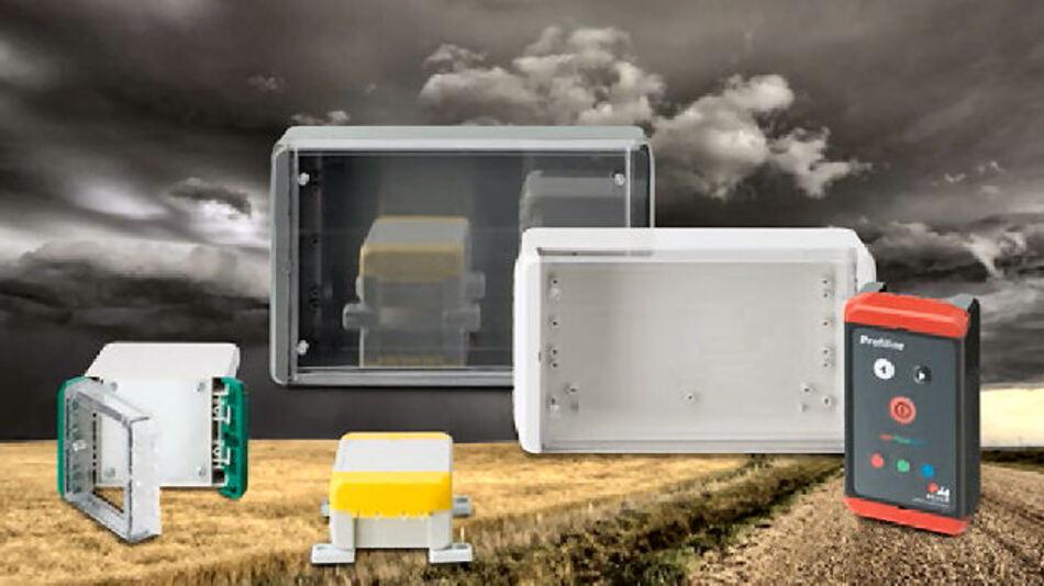 Bocube-Gehäuse aus den schwer entflammbaren bzw. selbstverlöschenden Materialien ABS und Polycarbonat UL 94 V0