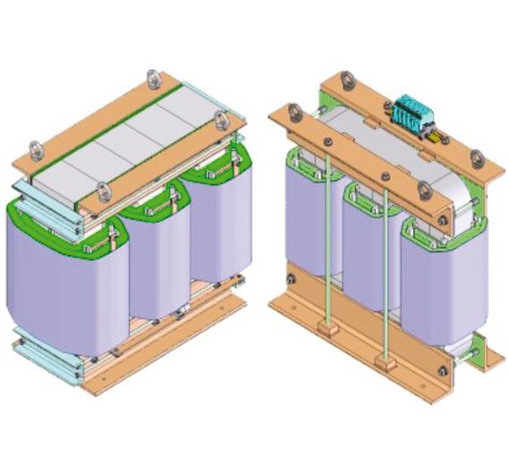 Bild 1: Drehstromtransformator mit Standardkern (links) und mit amorphem Kern (rechts)