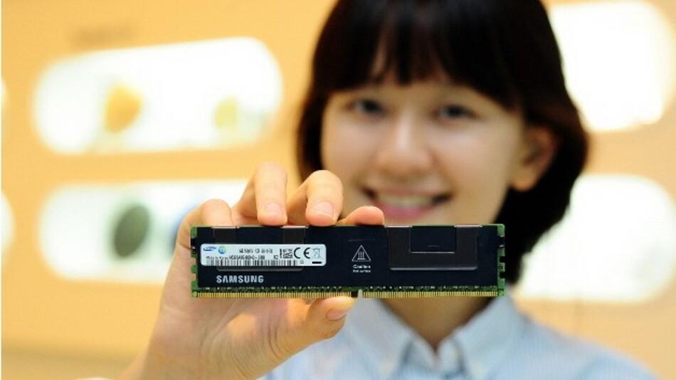 Den Servermarkt adressiert Samsung mit dem energieeffizienten 64-GByte-DDR-4-Modul in TSV-Technik.