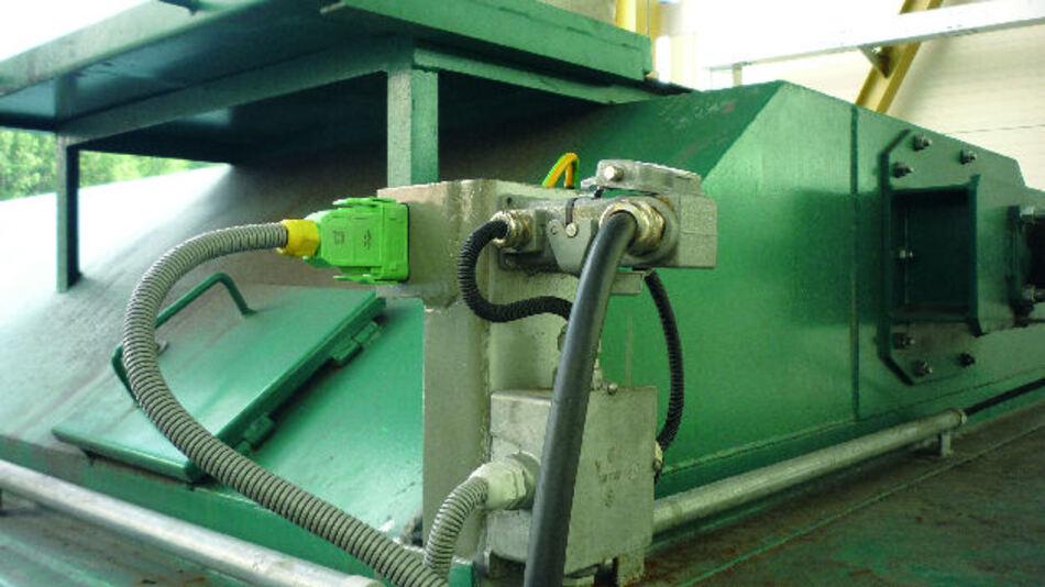 Bild 1. Die Flugasche-Container des E.on-Czech-Biomasse-Heizkraftwerks in Mydlovary werden mit Han-GND-Steckverbindern geerdet.