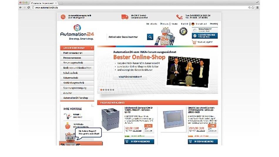 So präsentiert sich der Online-Shop Automation24 den Interessenten