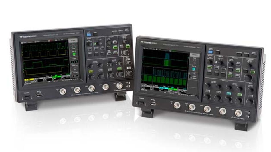 In zwei Versionen mit 350 MHz (Typ WaveJet Touch 334, rechts) und 500 MHz Bandbreite (Type WaveJet Touch 354, links) gibt es die neuen Touchscreen-Scopes von Teledyne-LeCroy.
