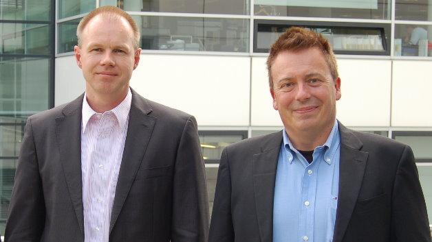 Audis PSCP-Chef Berthold Hellenthal (links) mit Elektronik-Redakteur Frank Riemenschneider.