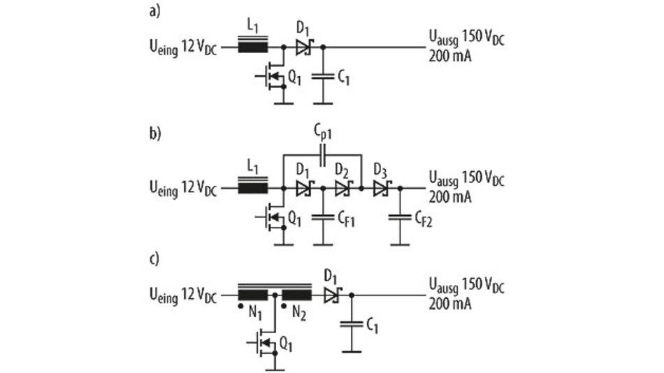 Bild 1. Standardschaltungen für die Realisierung vergleichsweise hoher Übersetzungsverhältnisse bei Hochsetzstellern sind: einfacher Aufwärtswandler (a), um Ladungspumpen erweiterte Aufwärtswandler (b) und Aufwärtswandler mit angezapfter Arbeitsspule (c).