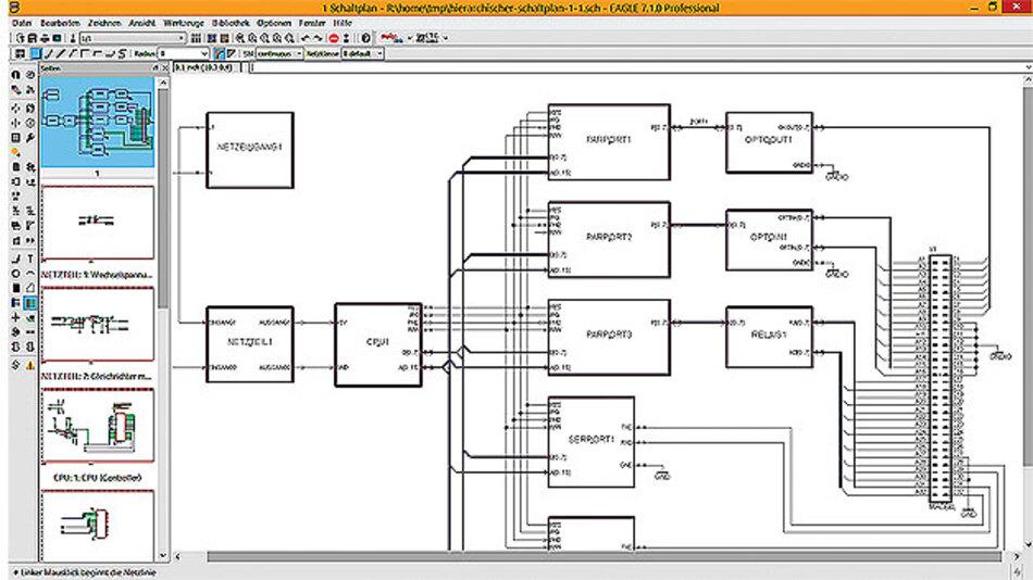 Beispiel für einen hierarchisch aufgebauten Schaltplan.