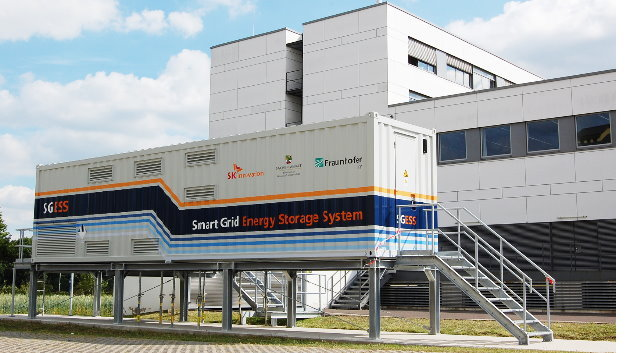 Der mobile 1-Megawatt-Speicher »Smart Grid Energy Storage System«, kurz SGESS, am Fraunhofer IFF in Magdeburg