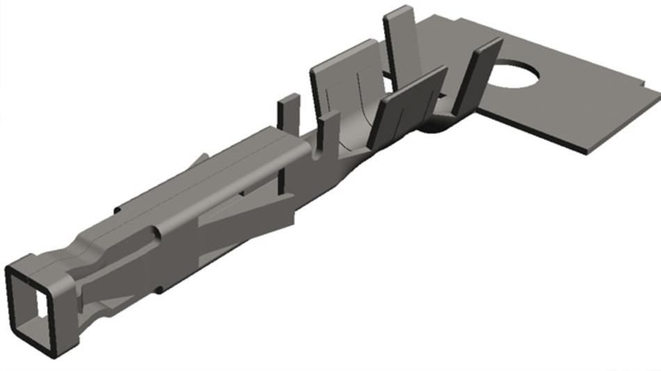 Bild 1b: Die Hülse des Low-Force-Crimp-Kontakts wurde mit Federn versehen, die das Stecken und Lösen erleichtern
