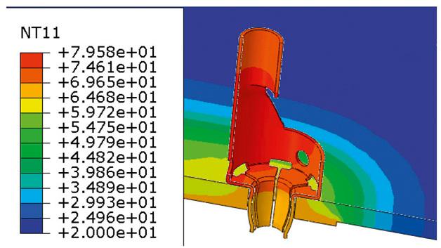 Bild 1: Temperaturverteilung am Han-Fast Lock