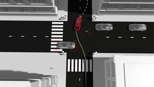 """Im Rahmen des """"Non-Hit Car and Truck Projekts"""" entstand ein Assistenzsystem, das durch eine nahtlose 360-Grad-Rundumsicht um das Fahrzeug in einer Notsituation automatisch einen sicheren, kollisionsfreien Ausweichweg findet."""
