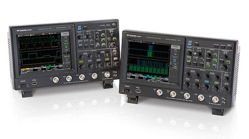 Bild 1. In zwei Versionen mit 350 MHz (Typ WaveJet Touch 334, rechts) und 500 MHz Bandbreite (Type WaveJet Touch 354, links) gibt es die neuen Touchscreen Scopes von Teledyne LeCroy.