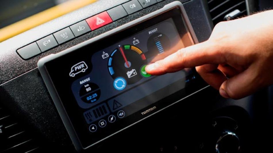 Das Nutzerschnittstelle auf Basis eines Tablets beim Iveco Daily Electric.