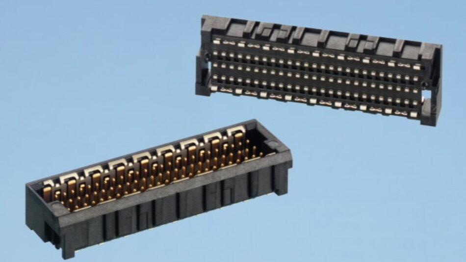 MicroSpeed-Triple-Steckverbinder: Die zentrale (dritte) Kontaktreihe kann z.B. komplett als Schirmreihe verwendet werden. Damit lässt sich das Übersprechen zwischen den Signalreihen effizient unterdrücken.
