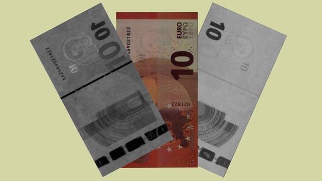 Neue Zehn-Euro-Banknote in verschiedenen Wellenlängenbereichen.