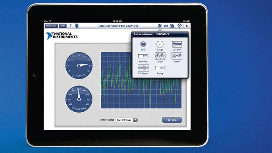 Bild 3. Mit Data Dashboard for LabVIEW können Anwender einfach und sicher mobile Benutzeroberflächen zur Visualisierung erfasster Daten erstellen – unabhängig von Zeit und Ort auf ihrem Tablet.