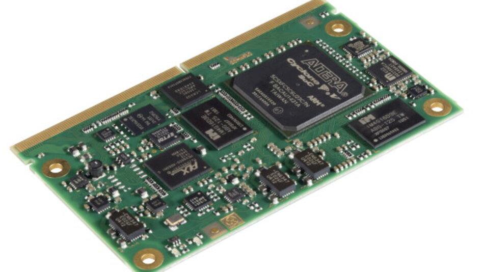 Solectrix nutzt für sein SMARC-Modul »SXoM-C5« Alteras Cyclone V und kann so eine Kombination aus ARM-CPU und FPGA bieten.