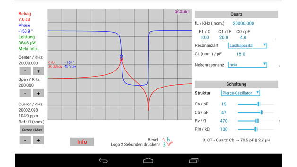Analyse-App für Auswahl von Schwingquarzen von Geyer Electronic