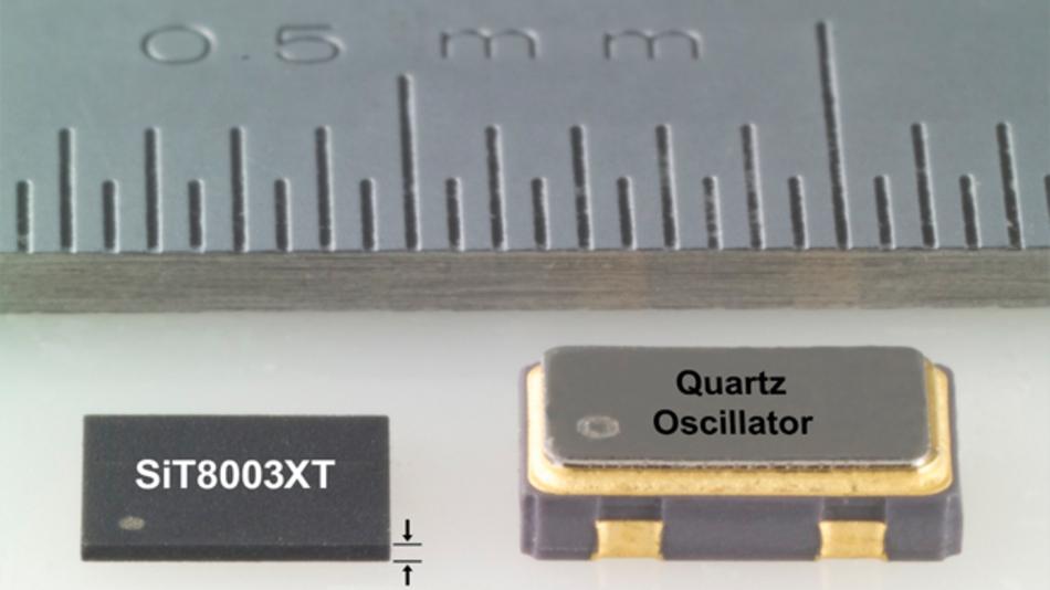 Bild 1: MEMS-Oszillatoren finden Platz in einem einfachen und damit kostengünstigen Plastikgehäuse Platz (links), während für Quarzoszillatoren ein spezielles gekapseltes und damit teures Keramikgehäuse nötig ist