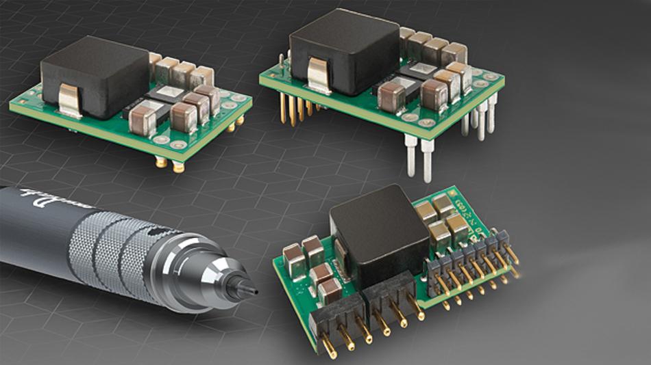 Den digitalen Gleichspannungswandler für 40 A und 132 W bietet Murata in drei verschiedenen Gehäuseoptionen für Durchsteckmontage, als Single-in-Line-Ausführung und für Oberflächenmontage an.
