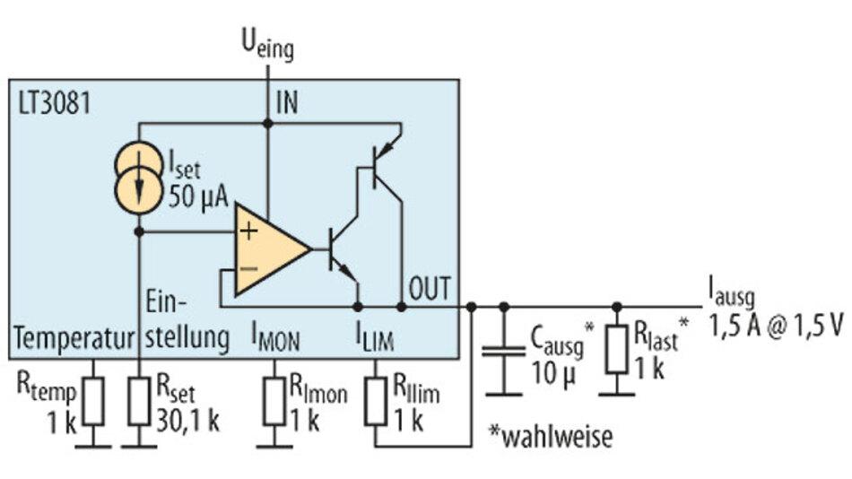 Bild 2. Aufbau eines Spannungsreglers mit dem Linearbaustein LT3081.