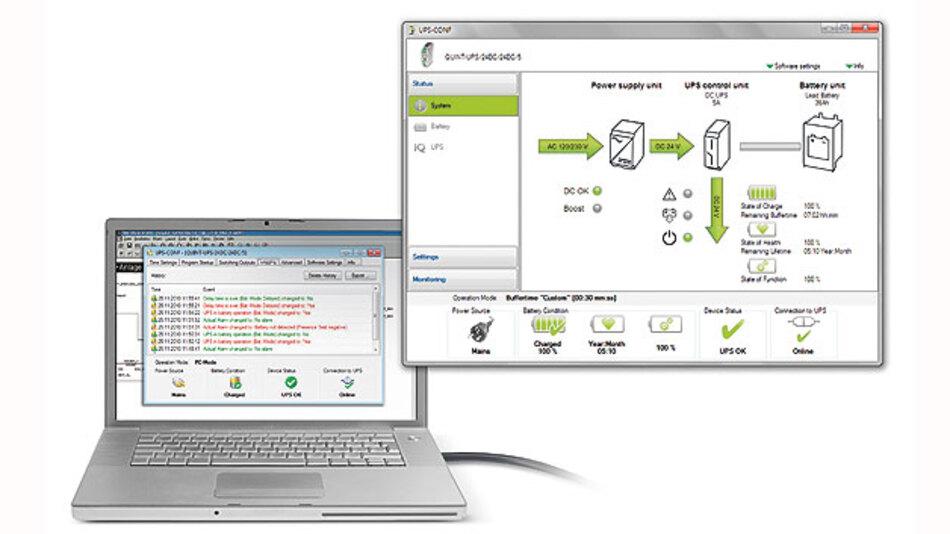 Bild 2. Zusätzlich zu den installierten Komponenten werden die ein- und ausgehenden Spannungen sowie der LED-Status auf den Gerätefronten visualisiert.