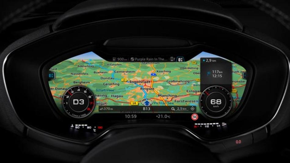 Der neue Audi TT verfügt über ein modernes Anzeige- und Bedienkonzept. Ein Display-Kombiinstrument des Systemlieferanten Bosch bündelt sämtliche Instrumenten-, Navigations- und Multimediaanzeigen direkt im Blickfeld des Fahrers.