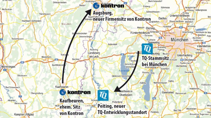 Landkarte mit Standorten