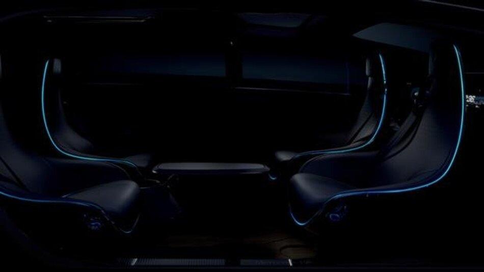 Innenraum-Konzept einer autonom fahrenden Luxuslimousine der Zukunft.