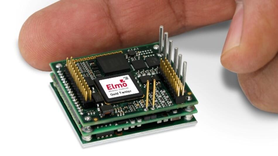Der Servoantrieb »Gold Twitter« von Elmo Motion Control bietet gemessen am Volumen besonders viel Leistung.