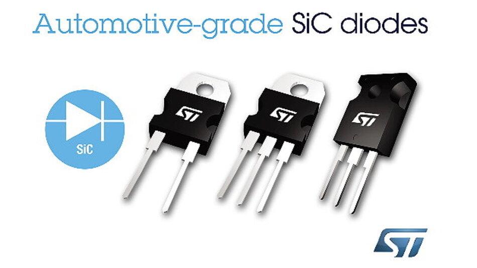 STMicroelectronics unterstützt mit seinen neuen SiC-Dioden den Trend zu immer kleineren Wechselrichtern in Anwendungen von Ladegeräten für Plug-in-Hybridfahrzeuge bis zu PV-Anlagen.