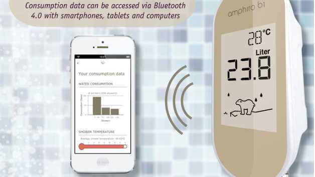 Das Gewissen duscht mit: Das amphiro b1 zeigt die Verbrauchsdaten direkt auf dem Display an und überträgt sie per Bluetooth auf ein mobiles Endgerät