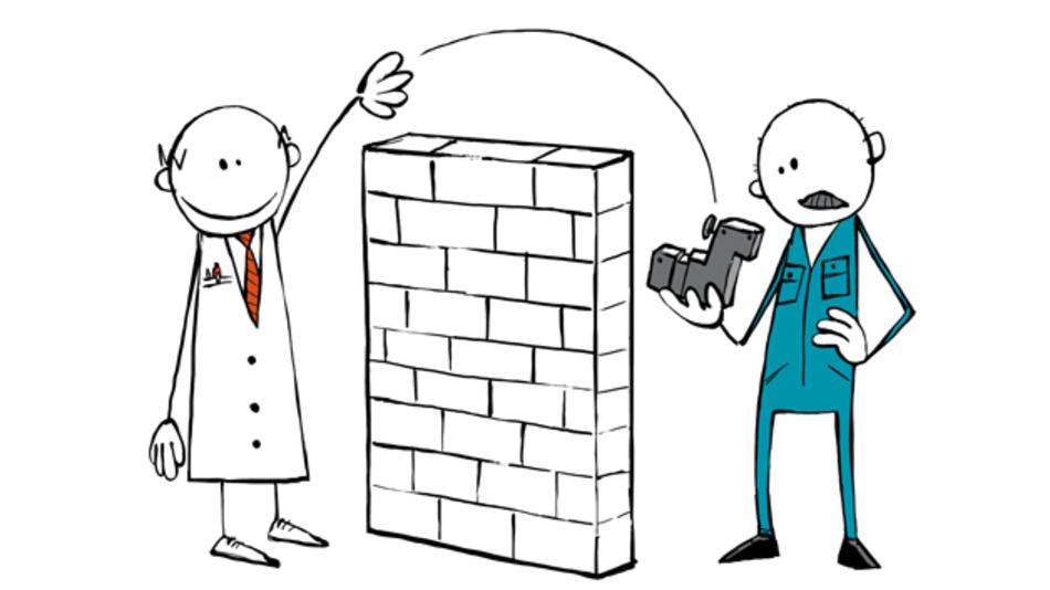 Das Zusammenwirken verschiedener Unternehmensfunktionen ist häufig  lebendig gewordene Theorie: Man plant, budgetiert, entwickelt und produziert nach bestem Gewissen aneinander vorbei. (Grafiken: ROI Consulting)