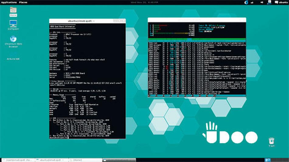 Bild 1. UDOO-Desktop nach installierter Ubuntu-Distribution.