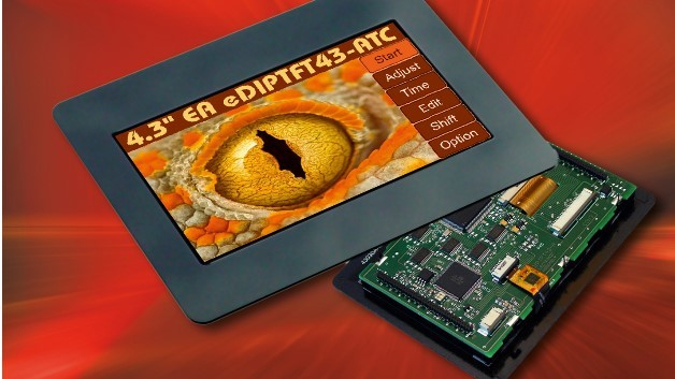 Auf einer Bildschirmdiagonale von 4,3 Zoll ermöglicht Electronic Assemblys TFT-Grafikdisplay eDIPTFT43-A die Darstellung von 480 x 272 Pixel.
