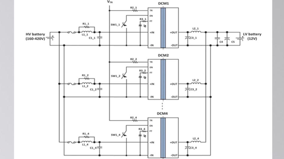 Bild 2: Vier parallelgeschaltete »DCM«-Module bilden eine 2-kW-Stromversorgung mit niedriger Ausgangsspannung, die von verschiedenen Li-Ionen-Akkus in Elektro- und Hybridfahrzeugen versorgt werden kann