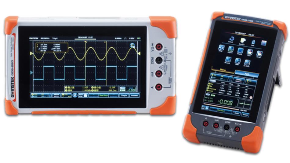 Die neue Oszilloskop-Serien GDS-200 und GDS-300 von Saelig mit großem Touchscreen und eingebautem Multimeter.