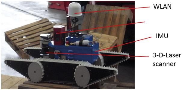 Bild 2: Roboter auf Raupen mit Kameras zur Erkundung der Gefahrenlage am Boden.