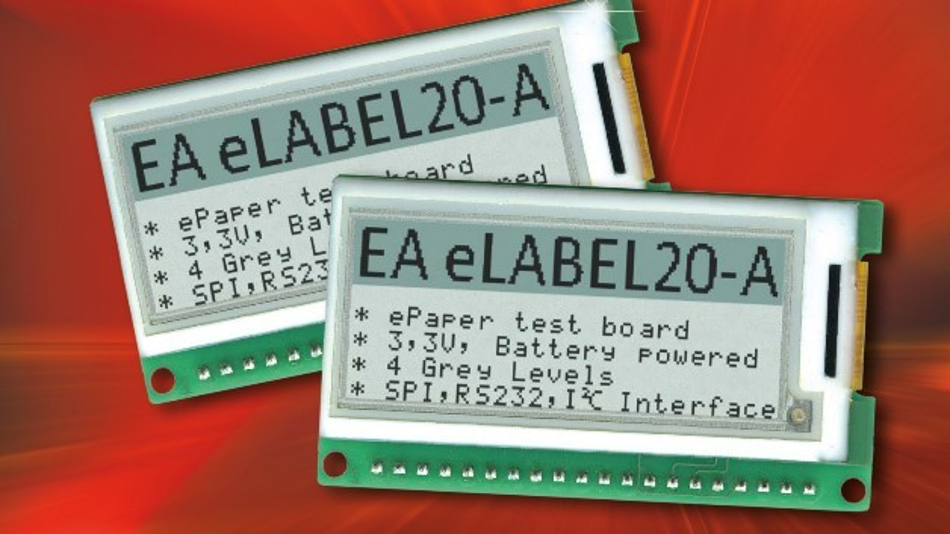 Eine 2,0 Zoll große Bilddiagonale hat Electronic Assemblys stromsparendes E-Paper-Display EA ELABEL20-A mit eingebauter Intelligenz.