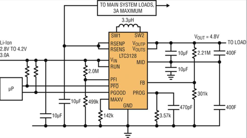 Bild 2: Typische Backup-Anwendungsschaltung des »LTC3128« von Linear Technology