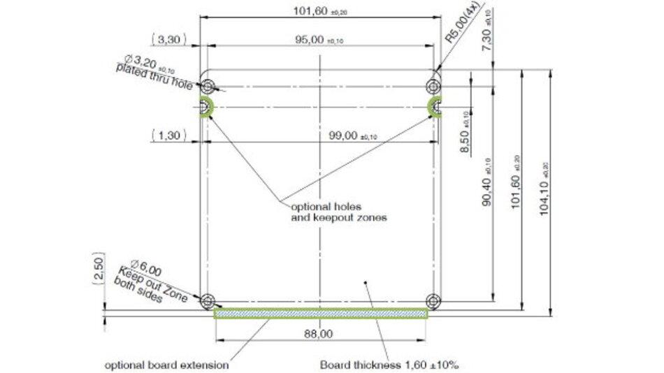 Abmessungen eines Boards gemäß »embedded NUC«-Standard.