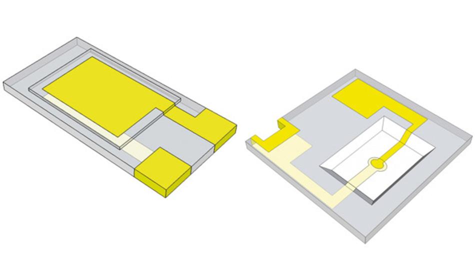 Quarz-Chip mit herkömmlicher, quaderförmiger Struktur (links): Die Dicke des Quarzes kann bis auf etwa 30 µm reduziert werden.  Bei der invertierten Mesa-Struktur (rechts) hat nur der zentrale Teil die erforderliche geringe Dicke des schwingenden Volumens.