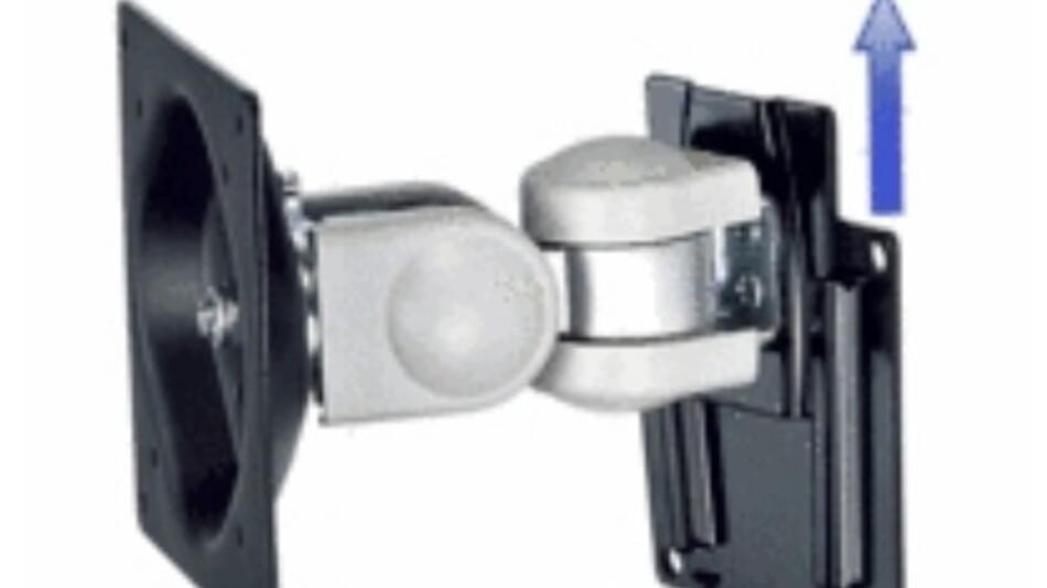 Die Monitor-Wandhalterung Flex fix 15 von SR System-Elektronik lässt sich samt TFT abnehmen.