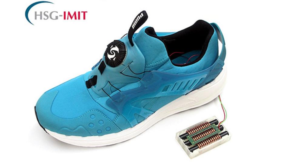 Laufschuh mit »Swing Harvester«: Der Schuh erkennt, wenn er angezogen wird und schnürt selbstständig zu bzw. auf.