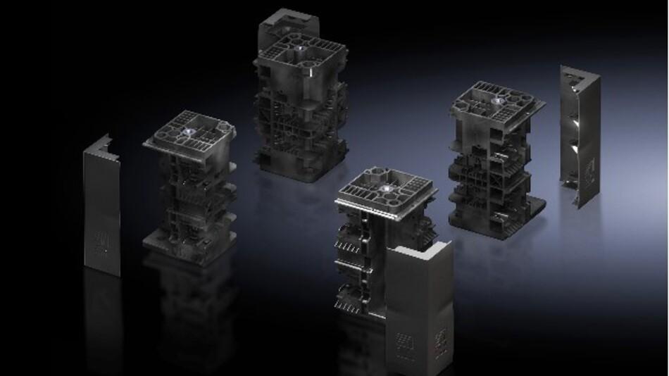 Kunststoff statt Stahlblech: Mit Rittals Baukastensystem Flex-Block können Schaltanlagenbauer im Vergleich mit herkömmlichen Lösungen aus Stahlblech die Montagezeit deutlich verkürzen.